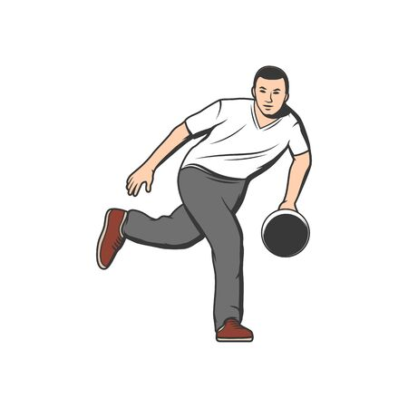 Bowling player throwing ball isolated cartoon character. Vecteurs