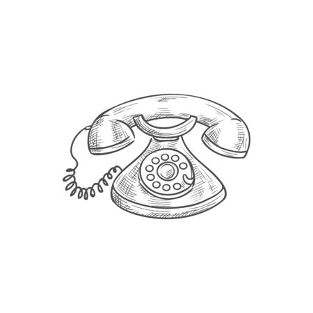 Candlestick phone isolated sketch. Vector vintage iron decor metal antique telephone