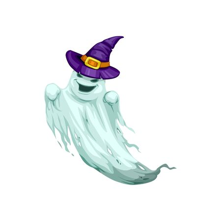 Happy Halloween ghost in witch hat isolated.  イラスト・ベクター素材