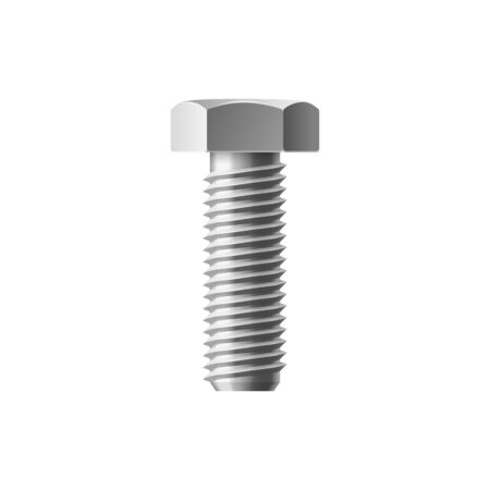 Hexagon cap bolt isolated big metal fastener.