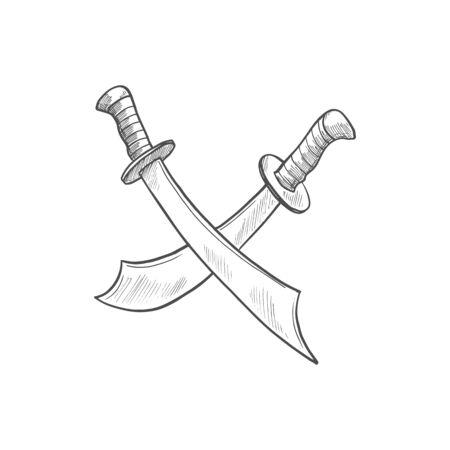 Crossbones knives isolated crossed pirate swords Ilustração