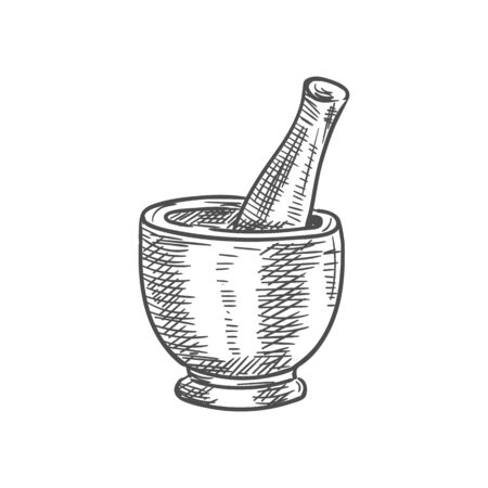 Mortar and pestle isolated kitchen pounder stamp sketch. Vector pharmacy wood grinding tool