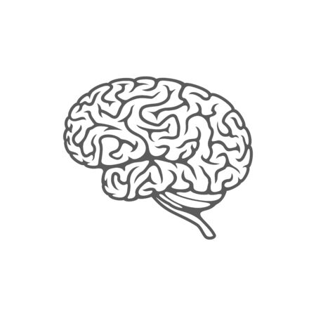 Human brain isolated mental organ. Vector outline neurology science sign, symbol of intelligence and intellectual