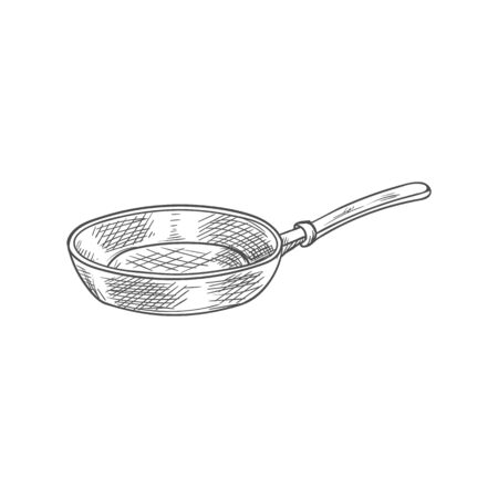 Frypan or frying pan isolated cooking utensil sketch. Vector monochrome shallow frypan with long handle
