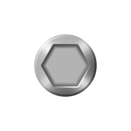 Hexagon bolt head isolated metal cap. Vector silver hex top of screw or nail