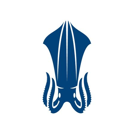 Squid cephalopods marine animal isolated icon. Vector blue hooked squid with tentacles