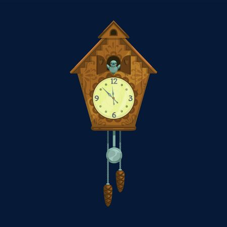 Vintage cuckoo clock isolated. Vector wooden clock with bird and cones