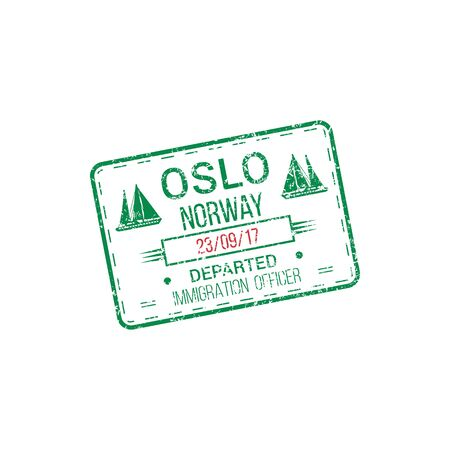 Immigration officer visa stamp departed from Oslo, Norway.