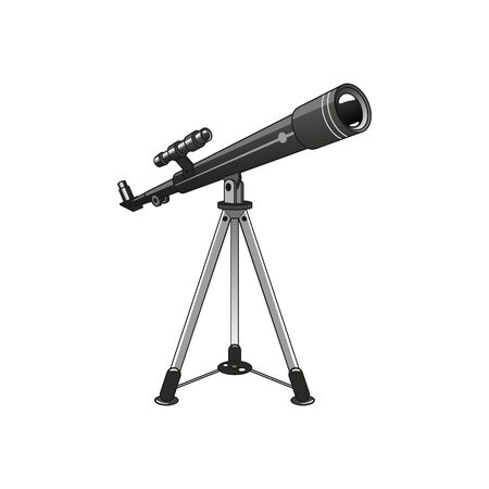 Telescope on tripod stand isolated astronomy object. Vector spyglass, tool to study stars and planets