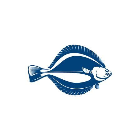 Flatfish southern flounder isolated fishery mascot. Illustration