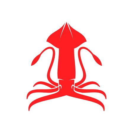 Red hooked firefly squid isolated marine animal icon. Vector cephalopods ocean invertabrate