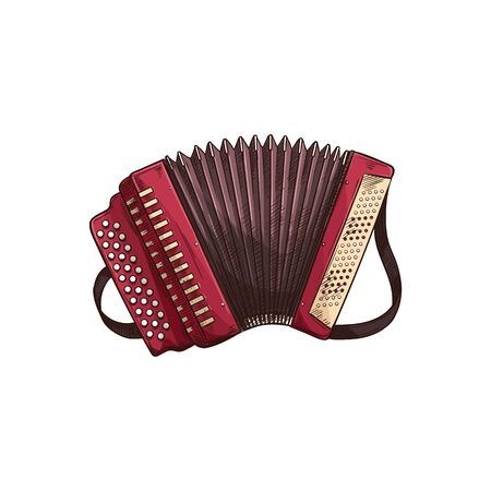 Button accordion isolated retro musical instrument. Vector harmonica, folk music chromatic or diatonic accordion