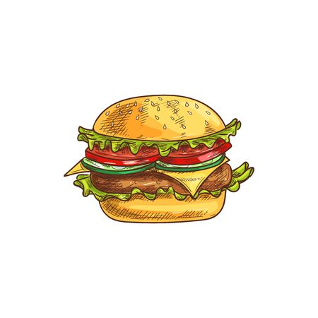 Cheeseburger fastfood snack isolated burger with cheese, tomato, chop and lettuce. Vector takeaway hamburger sketch