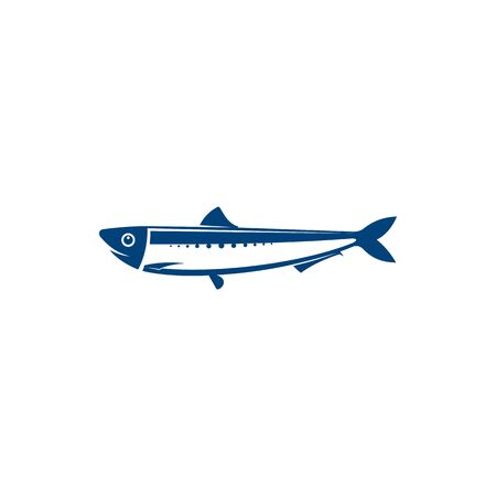 Herring isolated blue fish marine animal. Vector coldblooded sardine marine animal, saltwater aquatic fish