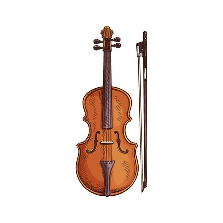 Italian viola isolated retro musical instrument. Vector wooden violin with bow, cello sketch Иллюстрация
