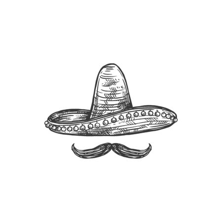 Sombrero hat and retro moustaches isolated monochrome sketch. Vector mexican headwear and mustaches
