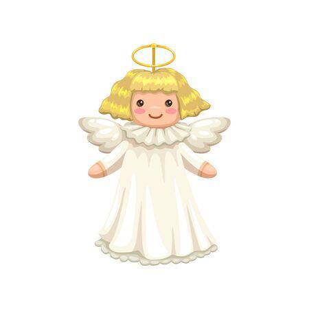 Cartoon angel, cupid or amour isolated praying boy.