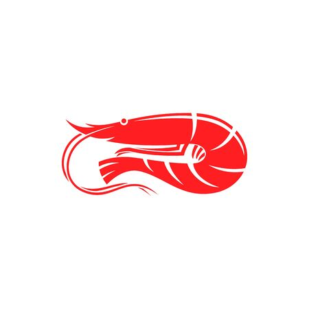 Boiled shrimp with long whiskers isolated marine animal. Vector red flat prawn, shellfish seafood