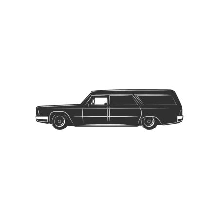 Black hearse isolated funeral car icon. 向量圖像