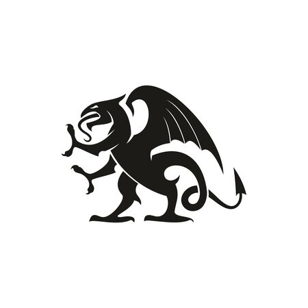 Black dragon isolated heraldic animal silhouette. Vector creature with eagle wings, legs and lion tail