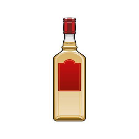 Spirit drink in bottle isolated cognac or vodka. Vector alcohol, brandy or rum in bottle 向量圖像