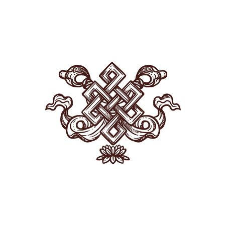 Endless knot symbol of Buddhism religion isolated sketch. Vector eternal knot, eight auspicious symbol