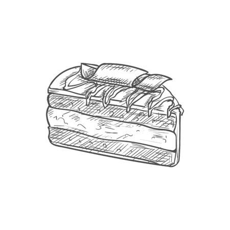 Creamy sweet chocolate dessert isolated cake sketch. Vector piece of birthday pie Illustration
