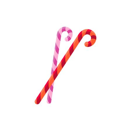 Peppermint striped candy canes isolated Christmas sweets. Vector candycane sticks, sugar lollies