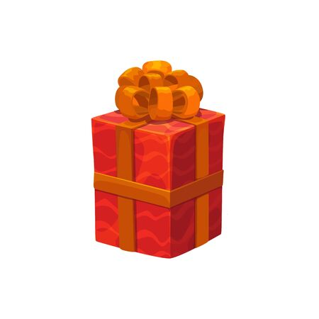 Gift box with silk ribbon isolated wrapped present. Vector sale or delivery pack, Christmas container