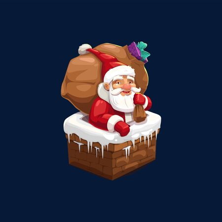 Santa Claus with bag full of presents in snowy chimney isolated. Vector Christmas character with beard