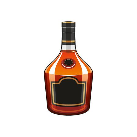 Bourbon whiskey, scotch isolated bottle of cognac. Vector whiskey high spirit drink pack mockup