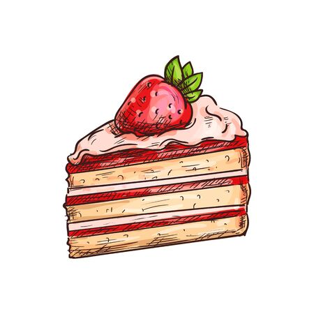 Piece of cake with cream and strawberry isolated dessert. Vector creamy biscuit sketch, birthday pie