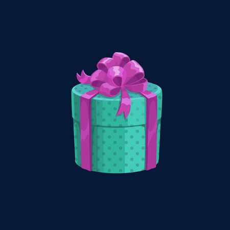 Round gift box with satin ribbon isolated present in dotted wrapping. Vector package with silk ribbon