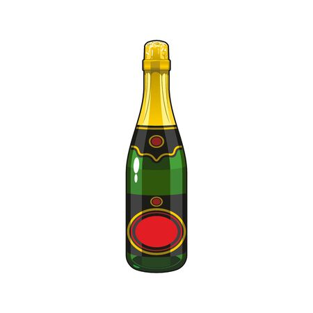 Green bottle of champagne wine with cork isolated. Vector fizzy alcoholic drink mockup