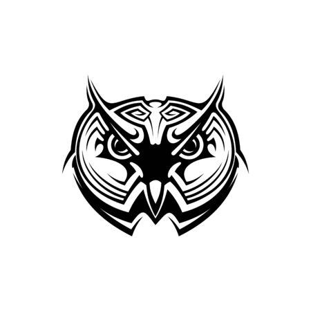 Ornate owl silhouette illustration. Glyph tribal owl totem tattoo design. Night bird wildlife predator black stencil clipart. Wisdom stylized symbol logotype. Wild animal mascot on white background Logo