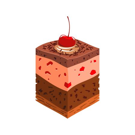 Layer chocolate cake topped by cherry isolated piece. Vector pastry dessert, bakery food 矢量图像