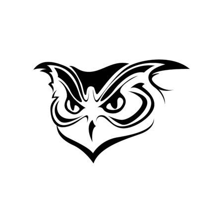 Ornate owl silhouette illustration. Glyph tribal owl totem tattoo design. Night bird wildlife predator black stencil clipart. Wisdom stylized symbol logotype. Wild animal mascot on white background