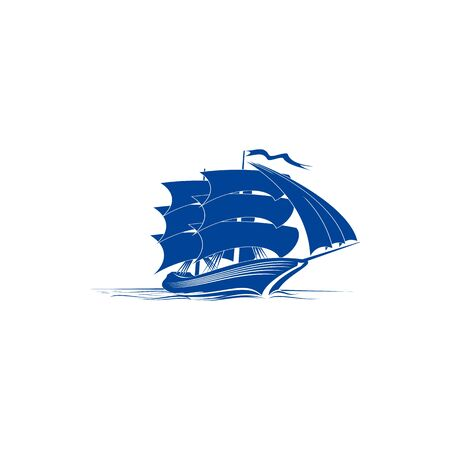 Sailing ship navy blue silhouette vector illustration. Medieval boat glyph isolated emblem, badge. Brigantine, nautical vessel. Pirate galleon, ship with sails stencil clipart. Cruise logo idea