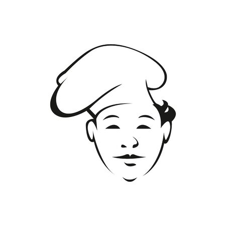 Young cook outline vector illustration. Professional chef with hat isolated character on white background. Restaurant worker, cook assistant contour drawing. Restaurant, cafe logo design idea Logo