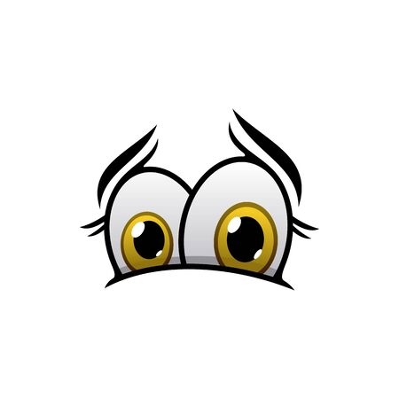 Intrigued eyes expression vector illustration. Interested person cute facial element isolated on white background. Cartoon human eyes showing interest curiosity, surprise. Caricature eyeballs emoticon