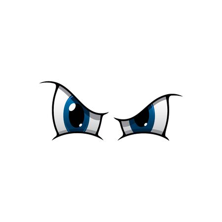 Eyes expressing anger vector illustration. Bad person facial element isolated on white background. Cartoon human eyes showing anger, irritation, dissatisfaction, disapproval. Caricature eyeballs emoji Illustration
