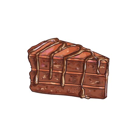 Chocolate cake piece isolated choc dessert sketch. Vector yummy creamy sweet birthday treat