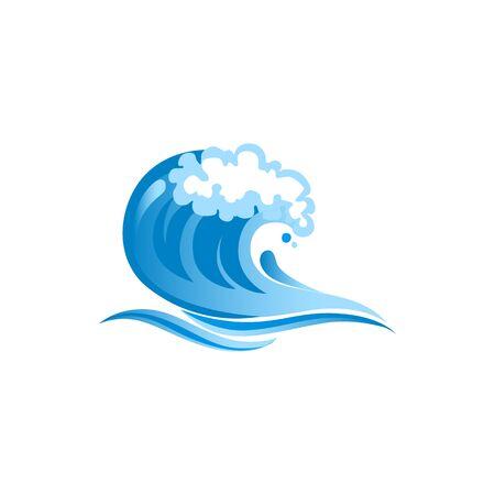 Navy blue ocean wave vector illustration. Abstract sea wave, water splash, tide cartoon sticker. Clean saltwater swirl, curl. Tropical resort logotype design element. Surfing logo idea