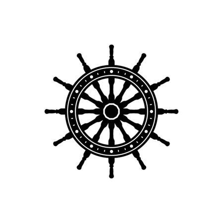 Ship steering wheel with anchors contour vector illustration. Sailing, maritime linear black symbol. Antique, vintage rudder, steering wheel outline drawing. Sailor tattoo design, harbor, vessel logo