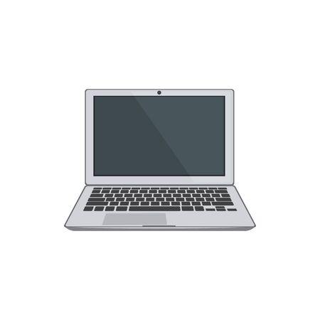 Laptop computer isolated notebook and keyboard. Vector electronic equipment, portable modern pad Ilustración de vector