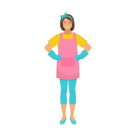 Housewife in apron and rubber gloves isolated woman. Vector housekeeper or hostess ready to cleaning services