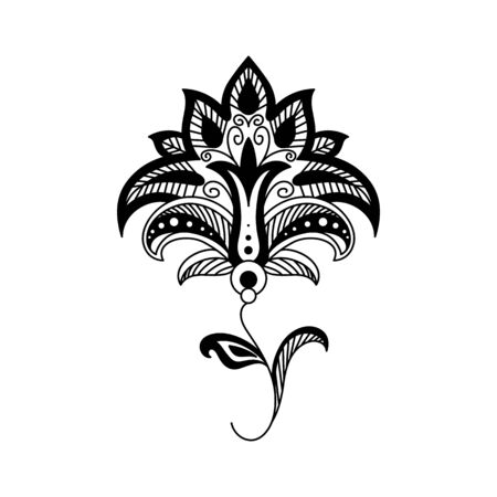 Abstract flower line art illustration. Floral ornate design element isolated on white background. Fantasy blossom contour drawing. Spring fairytale blooming flower black outline clipart
