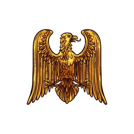 Golden eagle isolated medieval heraldry bird. Vector gold griffin with stretched wings, hawk mascot