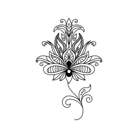 Folk flower outline vector illustration. Fantasy blooming contour drawing isolated on white background. Abstract peony blossom black clipart. Coloring book botanical design element