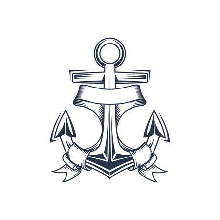 Marine anchor contour vector illustration. Navy, ocean fleet hand drawn symbol. Heavy steel nautical anchor with ribbon monochrome emblem. Sailor tattoo, sea travel agency, harbor logo design